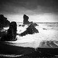 Iceland Dritvik Beach And Cliffs Dramatic Black And White by Matthias Hauser