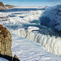 Iceland Gullfoss Waterfall In Winter With Snow by Matthias Hauser