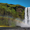 Iceland Rainbow Skogafoss Waterfall by Dave Dilli