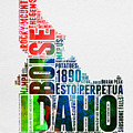 Idaho Watercolor Word Cloud  by Naxart Studio