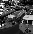 Idle Tour Boats -- Amsterdam In Winter Bw by Mark Sellers