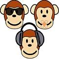 Illustration Of Cartoon Three Monkeys See Hear Speak No Evil by Taiche Acrylic Art