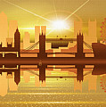 Illustration Of City Skyline - London  Sunset Panorama by Don Kuing