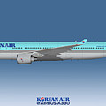 Illustration Of Korean Air Airbus A330-300 - Blue Version by Steve H Clark Photography