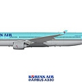 Illustration Of Korean Air Airbus A330-300 by Steve H Clark Photography