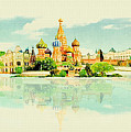 Illustration Of Moscow In Watercolour by Don Kuing