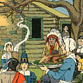Illustration Of The First Thanksgiving by American School