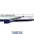 Illustration Of Us Airways Airbus A320 by Steve H Clark Photography