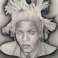 Immortalizing In Stone Jean Michel Basquiat Drawing by Angelee Borrero