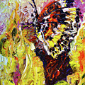 Impressionist Butterfly Yellow Flower by Ginette Callaway