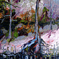 Impressionist Landscape Portrait Wetland Tree by Ginette Callaway