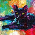Impressionistic Black Cat Painting 2 by Svetlana Novikova