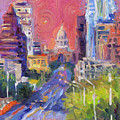 Impressionistic Downtown Austin City Painting by Svetlana Novikova