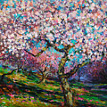 Impressionistic Spring Blossoms Trees Landscape Painting Svetlana Novikova by Svetlana Novikova