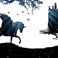 In A Dream, Unicorn, Pegasus And Castle Modern Minimalist Style by Stephanie Laird