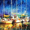 In The Port - Palette Knife Oil Painting On Canvas By Leonid Afremov by Leonid Afremov
