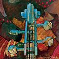 In Tune - String Instrument Scroll In Blue by Susanne Clark