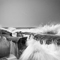 Incoming  La Jolla Rock Formations Black And White by Scott Campbell
