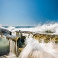 Incoming  La Jolla Rock Formations by Scott Campbell