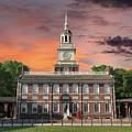 Independence Hall Philadelphia Sunset by Trekkerimages Photography