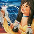 Indian Maiden With Dream Catcher by Joni McPherson
