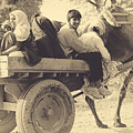 Indian People In Camel Cart- Sepia by Sonal Dave