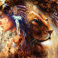 Indian Woman Wearing  Feather Headdress With Lion And Abstract Color Collage by Jozef Klopacka