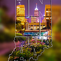 Indiana Typographic Blur - Downtown Indianapolis Skyline At Night - United States Artwork by Gregory Ballos