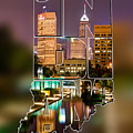 Indiana Typographic Blur - Indianapolis Skyline - Canal Walk Bridge View - State Shapes Series by Gregory Ballos