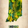 Indiana Watercolor Map by Naxart Studio