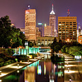 Indianapolis Indiana Skyline And Canal Walk At Night by Gregory Ballos