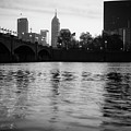 Indianapolis On The Water - Black And White Skyline by Gregory Ballos