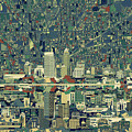 Indianapolis Skyline Abstract 3 by Bekim M