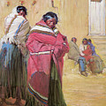 Indians Outside Taos Pueble by Gerald Cassidy