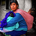 Indigenous Woman And Children Of Mexico by Sandra Selle Rodriguez