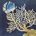 Indigo Ocean - Tan Fan Coral N Angelfish by Audrey Jeanne Roberts