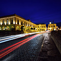 Indigo Sky And Car Lights Over Plaza Espana And Puente Nuevo Bri by Reimar Gaertner