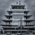 Indy 500 Pagoda - Black And White by Ron Pate