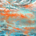 Infused Energy- Turquoise And Orange Art by Lourry Legarde