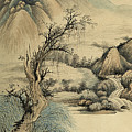 Ink Painting Landscape River by Wu Hufan