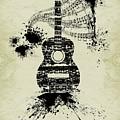 Inked Guitar Sepia by Barbara St Jean