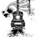 Inked Guitar Transparent Background by Barbara St Jean