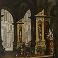 Inside Of The Palace With Soldiers by Antonio Joli