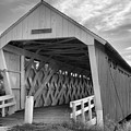 Inside The Imes Covered Bridge Black And White by Adam Jewell