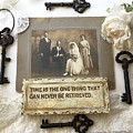 Inspirational Art - Vintage Wedding Photo With Antique Keys - Inspirational Vintage Black Keys Art  by Kathy Fornal
