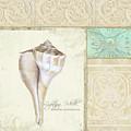 Inspired Coast Collage - Lightning Whelk Shell Vintage Tile by Audrey Jeanne Roberts
