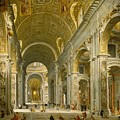Interior Of St. Peter's - Rome by Giovanni Paolo Panini