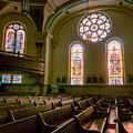 Interior St. Stan's Pews Stained Glass by Kari Yearous