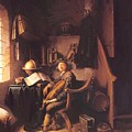 Interior With A Young Violinist 1637 by Dou Gerrit