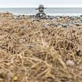 Inukshuk At Lawrencetown Beach, Nova Scotia by Mike Organ
